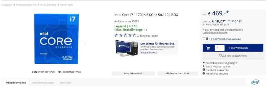 Le Core i7-11700K d'Intel