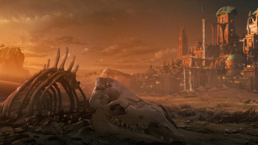 Un squelette gît dans le désert à l'extérieur d'une grande ville.
