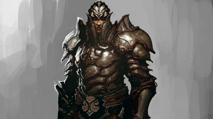 L'adepte des Templiers de Diablo 3 est recouvert d'une armure en écailles.