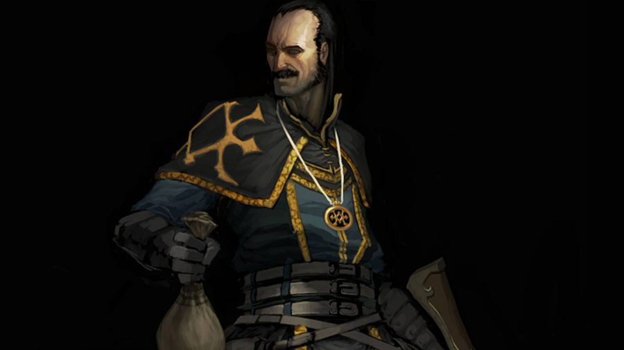 Le Scoundrel de Diablo 3 tient un sac d'argent et sourit.