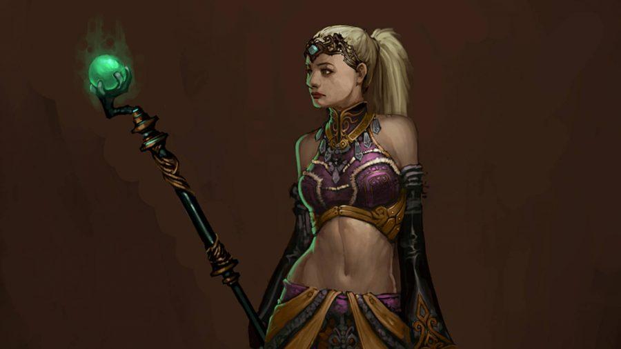 L'adepte de l'Enchanteresse dans Diablo 3 a un bâton avec un orbe vert brillant sur le dessus.