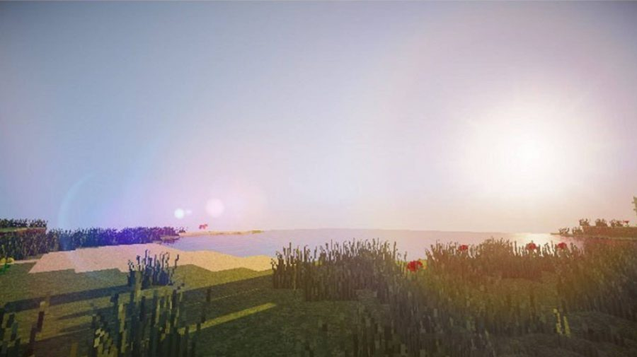 Le shader sans décalage de Minecraft montre une belle scène côtière avec un soleil couchant, une plage et des fleurs.