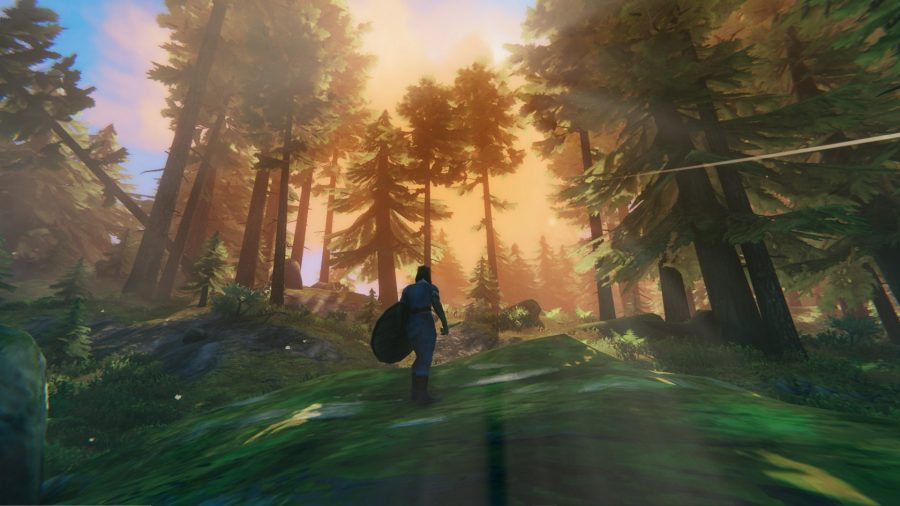 A Viking warrior standing in a forest; orange light soaks through the trees