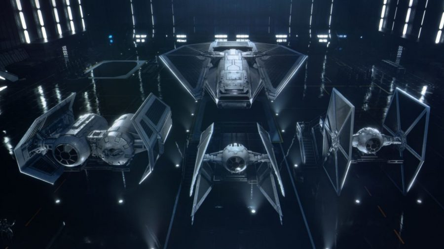 All four types of Empire ship. TIE Fighter is on the right, Interceptor is in the middle, Bomber is on the left, and Reaper is at the back.