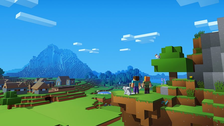 Characters survey a landscape in one of the best building games, Minecraft