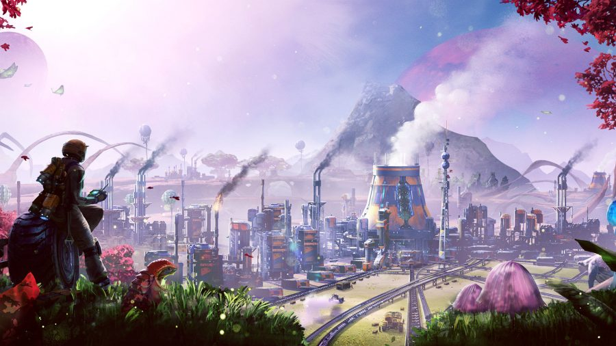 A sprawling factory complex in Satisfactory, one of the best building games