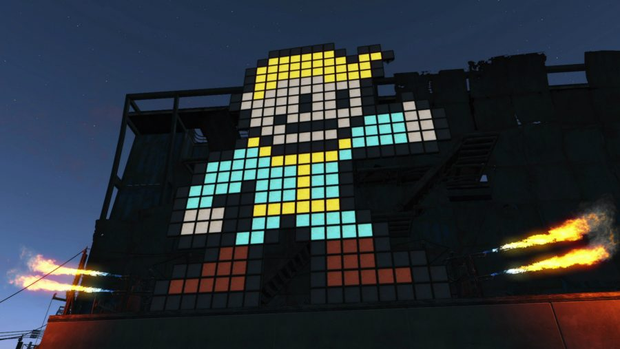 A creatively implemented Vault Boy using the building tools in Fallout 4