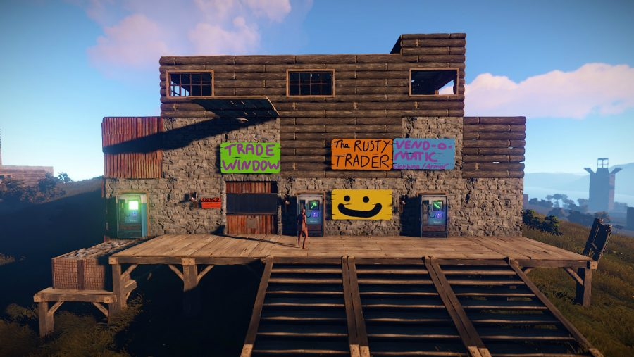 A shack with several friendly signs in one of the best building games, Rust