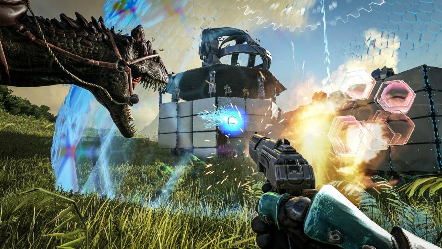 An attack is launched on a shielded base in one of the best building games, Ark: Survival Evolved