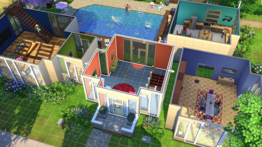 A modern house in one of the best building games, The Sims 4