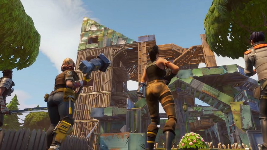 A towering structure of mixed materials in one of the best building games on PC, Fortnite