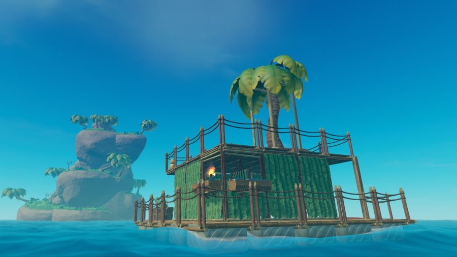 A raft with a tree on top, sailing the seas in one of the best building games, Raft