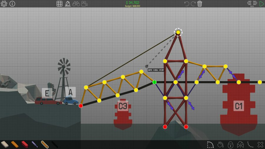 A series of triangles make for a hopefully sturdy bridge in Poly Bridge, one of the best building games on PC