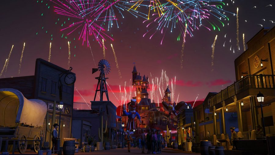 A flashy firework display in one of the best building games, Planet Coaster