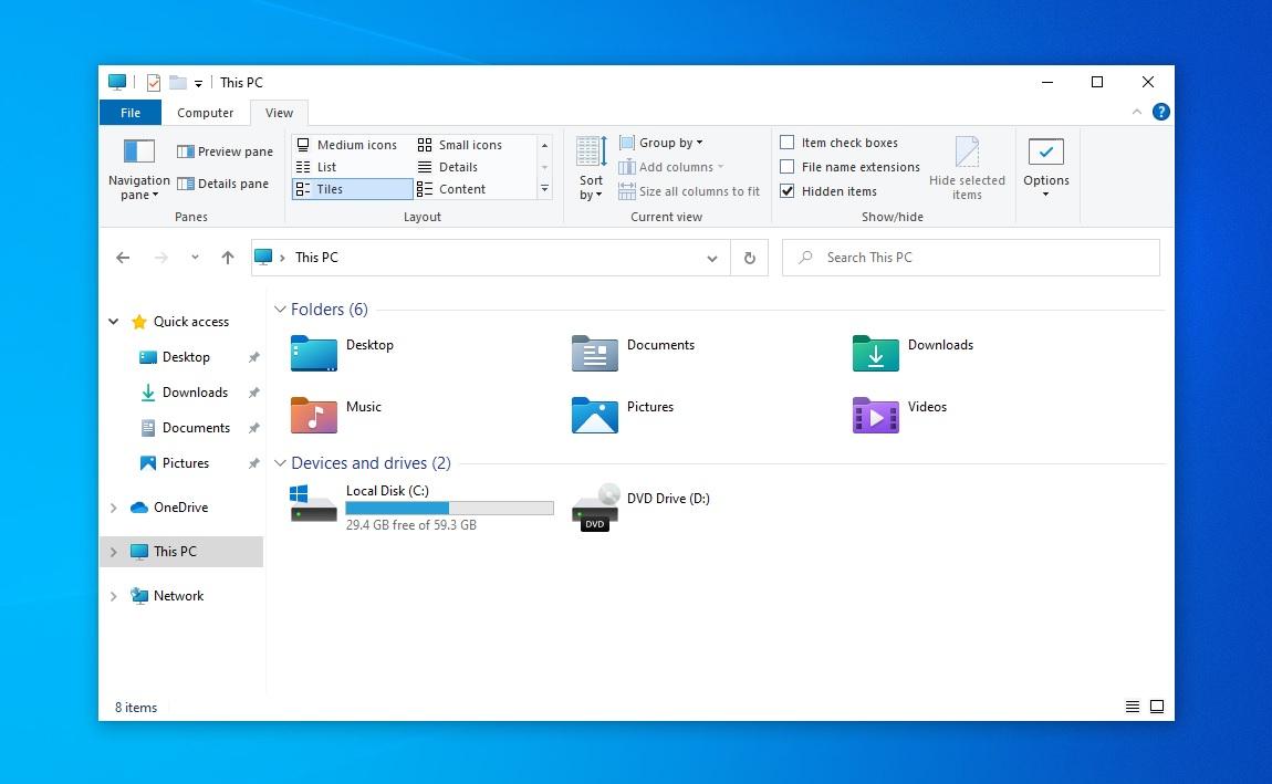 Nouvelle interface de l'explorateur de fichiers