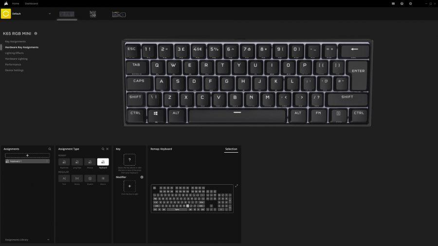 Vous pouvez remapper tous les raccourcis Corsair K65 RGB Mini dans le logiciel iCUE
