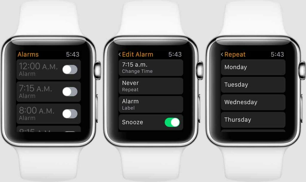 Option d'alarme Apple Watch